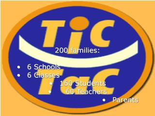 200  families: 6 Schools  6 Classes  160 Students     60 Teachers Parents