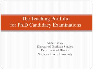 The Teaching Portfolio for Ph.D Candidacy Examinations