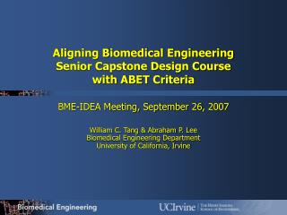 Aligning Biomedical Engineering  Senior Capstone Design Course  with ABET Criteria