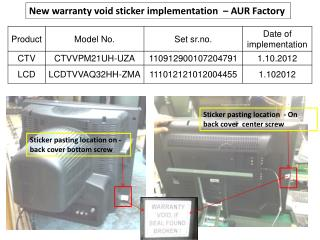 New warranty void sticker implementation  – AUR Factory
