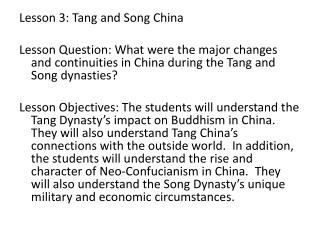 Lesson 3:  Tang and Song China