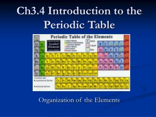 Ch3.4 Introduction to the Periodic Table