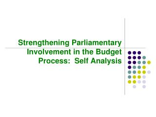 Strengthening Parliamentary Involvement in the Budget Process:  Self Analysis
