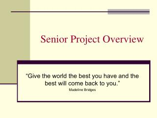 Senior Project Overview