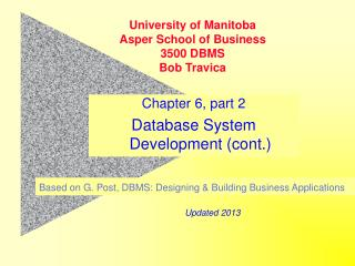 Chapter 6, part 2 Database System Development (cont.)