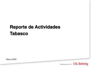 Reporte de Actividades Tabasco