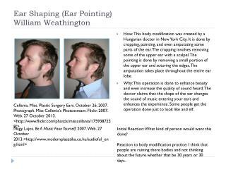 Ear Shaping (Ear Pointing) William Weathington