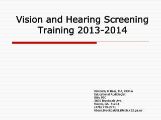Vision and Hearing Screening Training 2013-2014