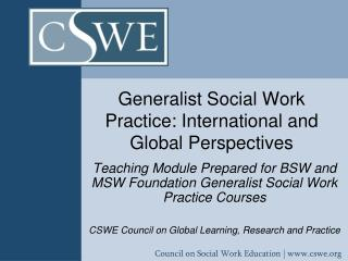 Generalist Social Work Practice: International and Global Perspectives