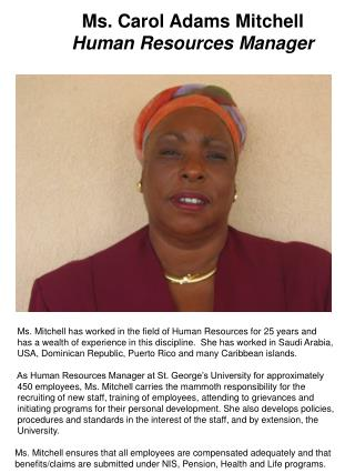 Ms. Carol Adams Mitchell Human Resources Manager