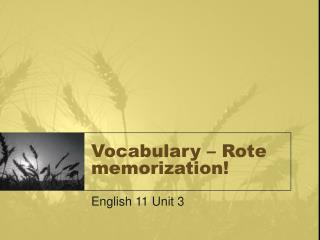 Vocabulary   Rote memorization