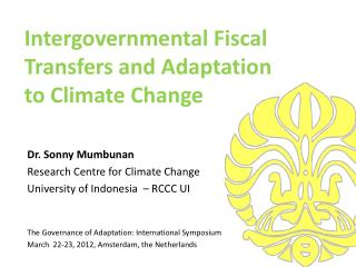 Intergovernmental Fiscal Transfers and Adaptation  to Climate Change