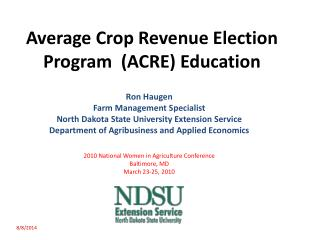 Average Crop Revenue Election Program  (ACRE) Education