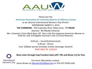 Please join the  American Association of University Women of Jefferson County