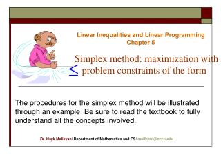 Linear Inequalities and Linear Programming Chapter 5
