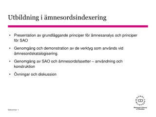 Presentation av grundläggande principer för ämnesanalys och principer för SAO