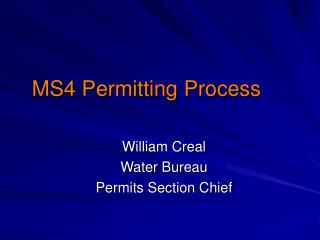 MS4 Permitting Process