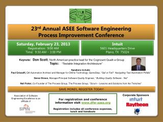 23 rd  Annual  ASEE Software Engineering  Process Improvement Conference