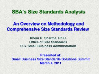 SBA�s Size Standards Analysis An Overview on Methodology and Comprehensive Size Standards Review
