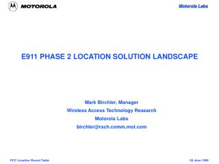 E911 PHASE 2 LOCATION SOLUTION LANDSCAPE