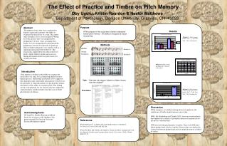 The Effect of Practice and Timbre on Pitch Memory