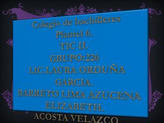 Colegio de bachilleres Plantel 6. TIC II. GRUPO:226 LIC.LAURA ORDU�A GARCIA.