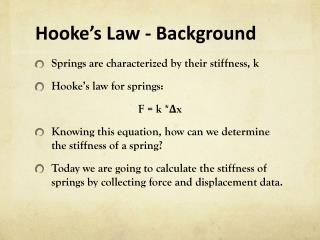 Hooke�s Law  - Background