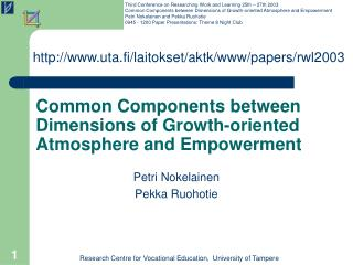 Common Components between Dimensions of Growth-oriented Atmosphere and Empowerment