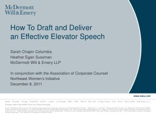 How To Draft and Deliver  an Effective Elevator Speech