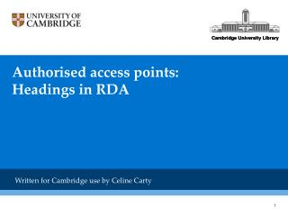 Authorised access points: Headings in RDA