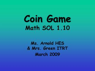 Coin Game Math SOL 1.10