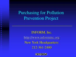 Purchasing for Pollution Prevention Project