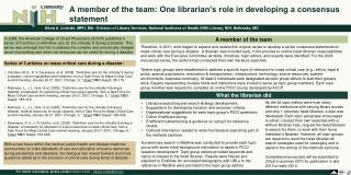 A member of the team: One librarian's role in developing a consensus statement