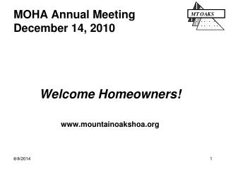 MOHA Annual Meeting December 14, 2010