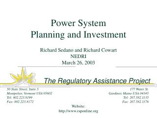 Power System Planning and Investment