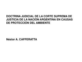 DOCTRINA JUDICIAL DE LA CORTE SUPREMA DE  JUSTICIA DE LA NACIÓN ARGENTINA EN CAUSAS
