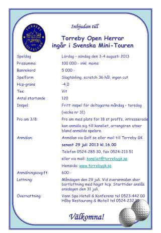 Torreby Open Herrar ingår i Svenska Mini-Touren
