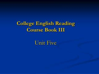 College English Reading  Course Book III