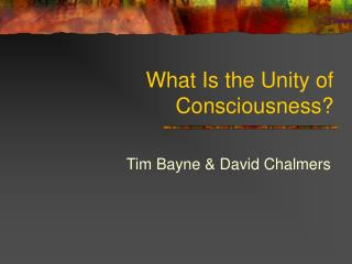 What Is the Unity of Consciousness