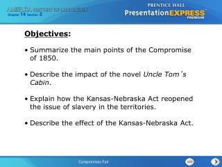 Summarize the main points of the Compromise of 1850.