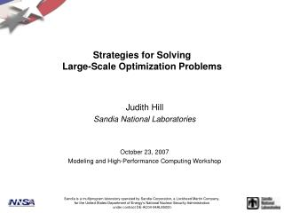Strategies for Solving Large-Scale Optimization Problems