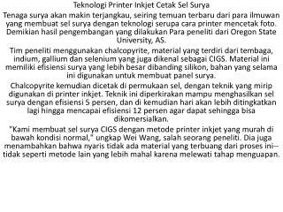 Teknologi Printer Inkjet Cetak Sel Surya