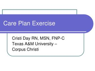 Care Plan Exercise