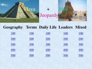 Maya          +        Mali Jeopardy