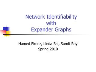 Network Identifiability  with  Expander Graphs