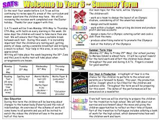 Welcome to Year 6 ~ Summer Term