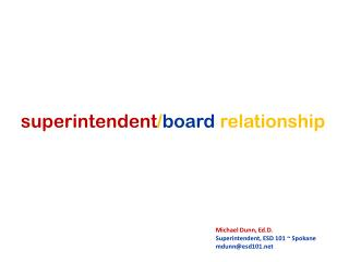 superintendent / board relationship