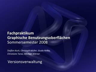 Fachpraktikum Graphische Benutzungsoberflächen Sommersemester 2008