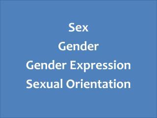 Sex Gender Gender Expression Sexual Orientation