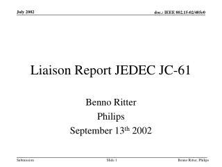 Liaison Report JEDEC JC-61